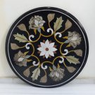 """24"""" coffee Dining Table Top Rare Black Marble Inlaid Marquetry Home Shopping Art"""