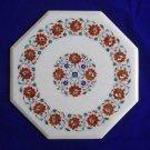 "18"" Marble inlay Hakik Rare coffee Side Table Top Pietra Dura Home Decor Art"