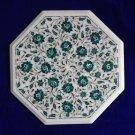 "18"" Marble inlay Malachite coffee Side Table Lazysusan vintage Pietra Dura Decor"