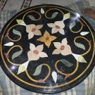 """24"""" Black Marble Beautiful Coffee Table top Inlaid Mosaic Marquetry Decor New"""