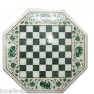 "24"" White Marble Coffee Table Top Pietra Dura Chess Elephant Handmade Home Decor"