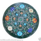 """18"""" Green Marble Dining Table Top Inlaid Lapis Turquoise Hakik Marquetry Inlaid"""