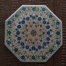 "30"" White Marble Unique Rare Coffee Table Top Pietra Dura Inlaid Decor Gifts Art"