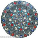 "24"" Marble Table Top Inlaid Semi Precious Filigree Art Handmade Home Decor Gifts"