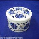 """3""""x3""""x2"""" White Marble Jewelry Box Trinket Handmade Pietra Dura Lapis Lazuli Gift"""