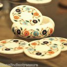 Marble Coaster Set Handicraft Hakik Flower Inlay Work Mosaic Collectible Gifts