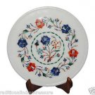 """9""""x9"""" Handmade White Marble Plate Inlay Marquetry Home Christmas Decorative Arts"""