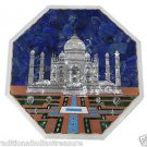"18"" White Marble Coffee Table Top Taj Mahal Pietra Dura Lapis Lazuli New Art"
