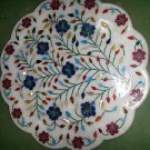 "15"" Decorative White Marble Plate Pietra Dura Marquetry Handmade Decor Gifts"