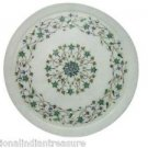 "12"" White Marble Plate Pietra Dura Malachite Handmade Decorative Home Art Gifts"