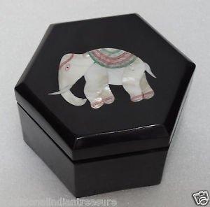 """3""""x3""""x1.5"""" Black Hexagon Marble Jewelry Box Trinket Elephant Pietra Dura Inlaid"""