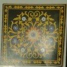 2'x2' Black Marble Coffee Center Table Top Rare Mosaic Inlay Work Patio Decor