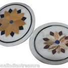 Size 1'X1' Lot 2 Marble Side Coffee Table Top Rare Inlaid Floral Art Decor H914