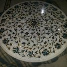 "30"" Marble Coffee Dining Table Top Dining Pietra Dura Paua Shell Floral Decor"