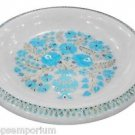 White Marble Dry Fruit Bowl Real Turquoise Gem Inlay Marquetry Kitichen Art Gift