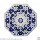 """18"""" Marble Lapis Semi Precious Stones Coffee Table Top Unique Mughal Art Gifts"""