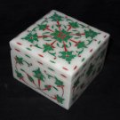 """4""""x3"""" Marble Malachite Jewelry Box Fine Square Marquetry Inlay Home Decor Gifts"""