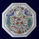 """12"""" White Marble Inlaid Two Peacock Pietra Dura Rare Table Top Home Decor"""