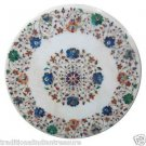 "24"" Marble Coffee Table Top Pietra Dura Floral Semi Precious Handmade Real Stone"