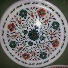 """12"""" Marble Rare Plate Decor Malachite Hakik Pietra Dura Inlay Mosaic Decor"""