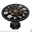 "23.5"" Black Round Marble Top Side Table Handmade Mosaic Home Decor With Stand"