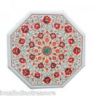 """18"""" Marble Inlaid Semiprecious Stones Coffee Table Top Unique Mughal Art Gifts"""