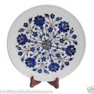 White Marble Round Serving Dish Plate Lapis Stone Mosaic Inlay Collectible Gifts