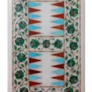 "Size 18""x11"" Marble Coffee Table Top Inlay Art Malachite Backgammon Board Game"