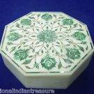 "6""x6""x2"" Decorative Octagon White Marble Jewelry Box Handmade Malachite Gifts"