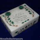 "4""x3""x1.25"" Marble Jewelry Box Handmade Malachite Pietra Dura Inlaid Decor gifts"