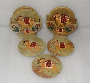 Marble Tea Coaster Pcs of 2 Camel Art Handmade Beautiful Hand painted Decor