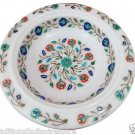 "10"" White Marble Dry Fruit Bowl Hakik Floral Inlay Mosaic Home Kitchen Decor Art"