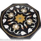 "23"" Black Marble Top Accent Table Top Handmade Marquetry Buds Arts Home Decor"