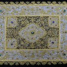 1.5'x2' Indian Jewel Carpet Ethnic Wall Hanging with Gold Zardozi from Kashmir