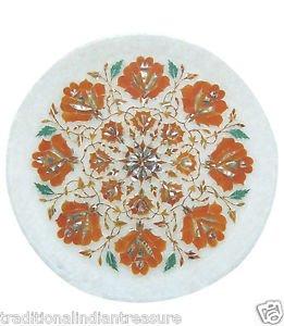 "12"" White Marble Plate Pietra Dura Hakik Flower Handicraft Home Decor Gifts Arts"