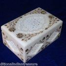 "6""x4""x3"" White Marble Jewelry Box Handmade Paua Shell Pietra Dura Home Decor Art"