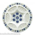 "10"" Marble Tray Plate Pietra Dura lapis Lazuli Handicraft Patio Decor Gifts Arts"