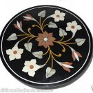 """23.5"""" Black Round Marble Top Side Table Handmade Mosaic Home Decor Decorative"""