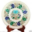 "14"" White Marble Serving Plate Real Malachite Mosaic Inlay Pietradure Art Gifts"