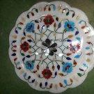"12"" Decorative Marble Plate Pietra Dura Lapis Lazuli Turquoise Home Decor Gifts"