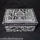 Black Marble Rectangle Jewelry Box Trinket Taj Mahal Carved Elephant Home Decor
