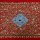 1.5'x2' Kashmir Jewel Red Carpet Decorative Wall Hanging Handicraft with Zardozi