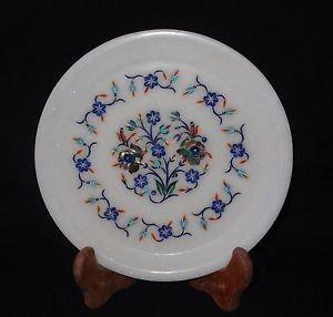 "8"" White Marble Plate Pietra Dura Lapis Handmade Paua shell Inlaid Floral Decor"