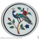 "24"" Marble Coffee Table Top Peacock Pietra Dura Handmade Home Decorative Gifts"