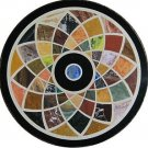 """24"""" Marble Marquetry Round inlaid Fine Dining Coffee Table Top Home Decor New"""