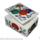 "4""x3""x2"" Marble Jewelry Box Handmade Lapis Lazuli Malachite Pietra Dura Decor"