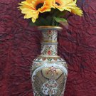"12"" Decorative Handmade Marble Flower Vase Pot Fish Arts Hand Painted Home Decor"