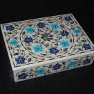 White Marble Jewelry Box Turquoise Lapis Mother of Pearl Inlaid Home Decor Gifts