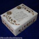 "4""x3""x1.25"" Marble Jewelry Box Handmade Paua Shell Pietra Dura Inlaid Decor gift"