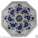 "21"" Marble Coffee Lapis Lazuli Side Table Top Marquetry Mosaic Home Decor Art"